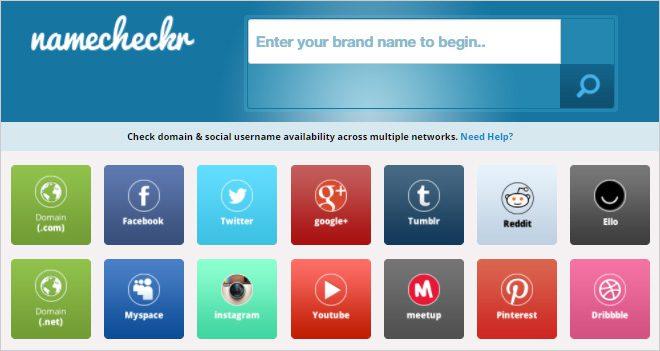 Namecheckr, el multibuscador de perfiles sociales y dominios disponibles