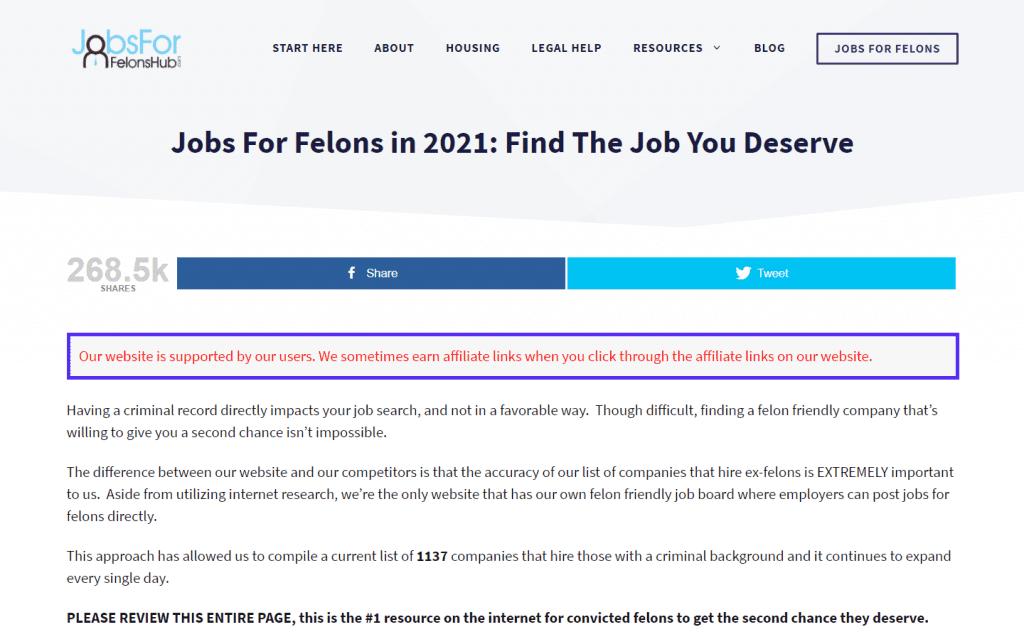 Aviso del sitio web de Jobs For Felons Hub sobre los enlaces de afiliados.